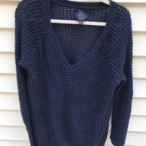 Jeggings Sweater Large Navy Blue Knit